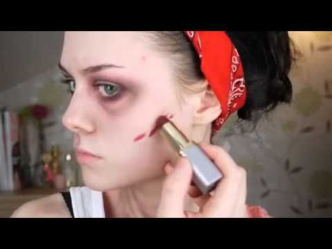 Easy Zombie Makeup Tutorial  You could also use elmers glue