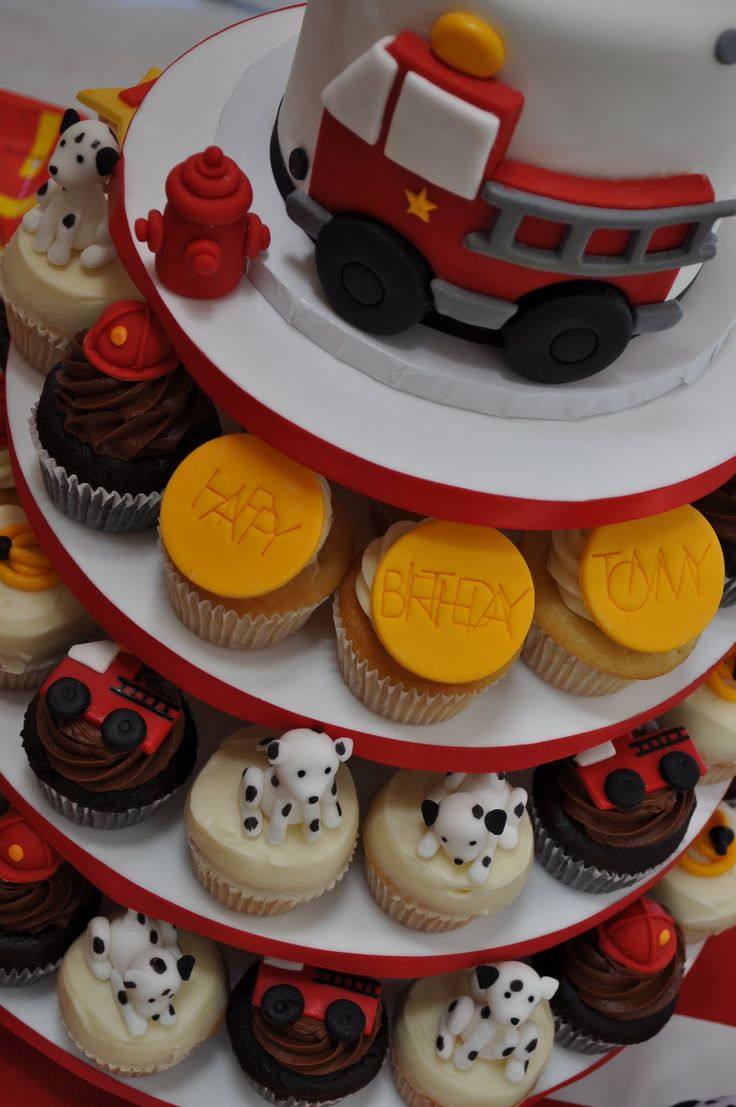 Fire Engine Cake with Firefighter-Themed Cupcakes | Shared by LION