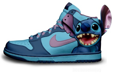 Cartoon Nike Dunks Stitch Shoes 3 D Feeling High Tops Blue