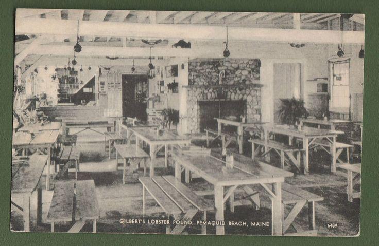 Me Pemaquid Beach Gilbert's Lobster Pound Interior 1952 Photolux Postcard