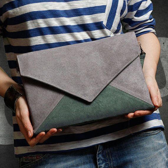 Clutch tas envelop brief grijs donker groene vegan door cocoonobags