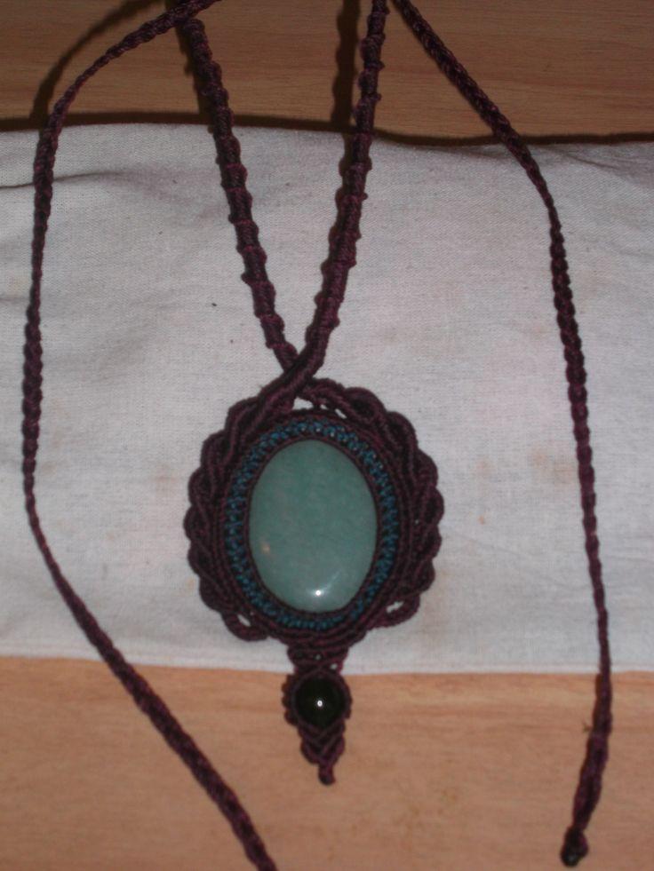 Jade stone Wrapped Macrame necklace