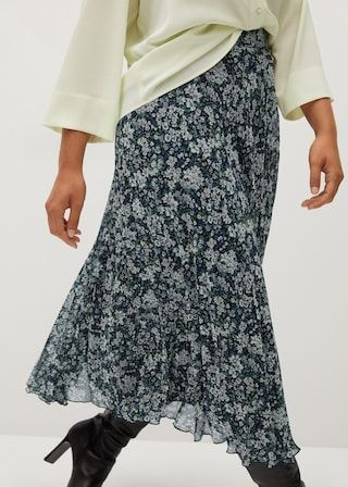 violeta by mango pleated floral skirt roecke damen damen