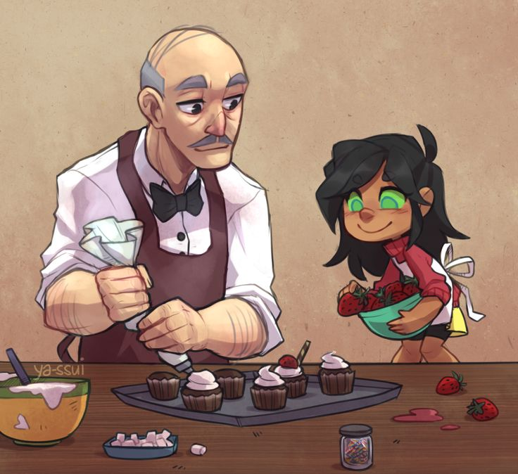 Robin and starfire's daughter making cupcakes with grandpa Alfred. Ok, since all the timelines are happening...this is fucking adorable and needs to happen