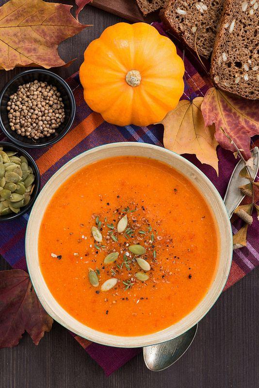 Тыквенный суп с чечевицей и перцем