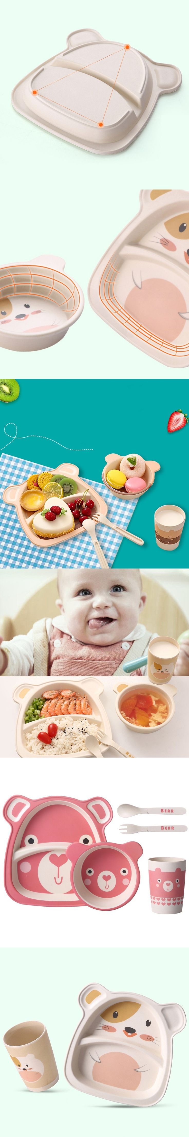 Infant Kids Feeding Dishes Tableware Sets Children Bamboo Fiber Lunch Dinnerware Box With Compartment School Food Container