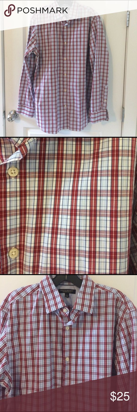 Banana Republic Non-Iron Slim Fit Dress Shirt Red, white, and blue plaid non-iron slim fit dress shirt. Size large. Banana Republic. Banana Republic Shirts Dress Shirts