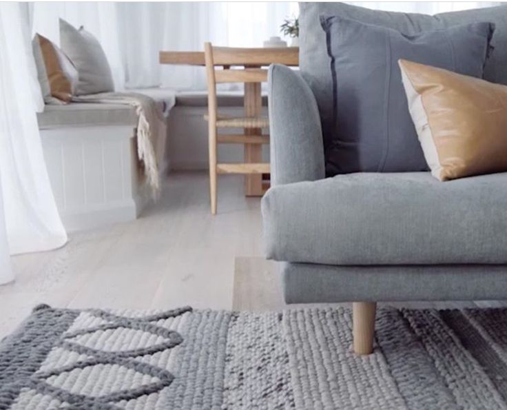 Loving these cool grey and tan tones in the home of Kyal and Kara featuring our Luca Linen Cushion. www.eadielifestyle.com.au