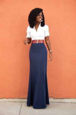 White Button Down Shirt + High Waist Maxi Skirt