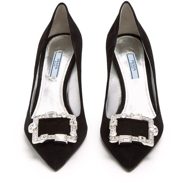 Prada Crystal-buckle suede pumps ($950) ❤ liked on Polyvore featuring shoes, pumps, black stilettos, black pointy-toe pumps, stiletto pumps, black pointed toe pumps and prada shoes