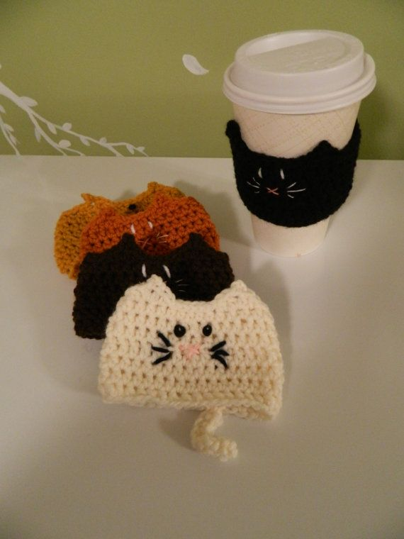 crochet kitty coffee cozy --  inspiration or items for purchase
