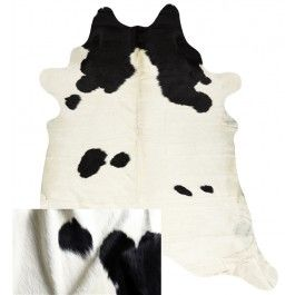 NATURAL COWHIDE RUG BLK/WHITE MORE WHITE
