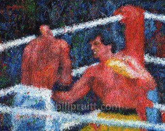 "ORIGINAL oil painting of Sylvester Stallone Rocky 3 art 11""x14"" Bill Pruitt"