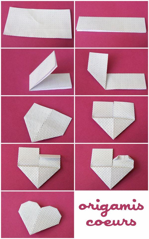 Voici un rapide origami à faire avec des papiers à motifs (ou même des papiers unis !) Il s'agit de marque-page en forme de coeurs et que l'on glisse sur le coin d'une page d'un livre. A faire pour la St Valentin, mais pas que ! Pour chaque coeur, vous aurez besoin d'un demi carré (vous pouvez couper en deux des carrés de papier spécial origami ou bien couper dans du joli papier un rectangle de 12,6 cm sur 6,3) Pliez le rectangle en deux, dans le sens de la longueur : Repliez e...