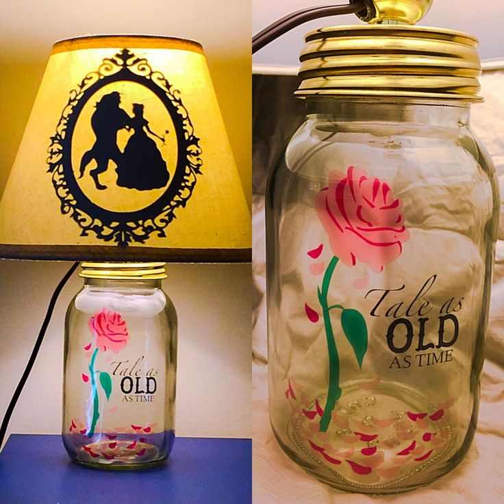 Beauty and The Beast Inspired Mason Jar Character Lamp by PracPerfCrafts on Etsy https://www.etsy.com/listing/237871375/beauty-and-the-beast-inspired-mason-jar