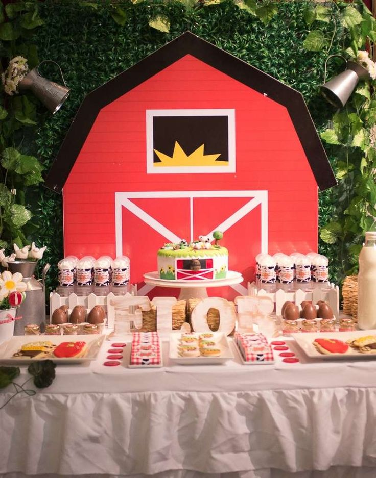 Barn backdrop at a farm birthday party! See more party ideas at CatchMyParty.com!