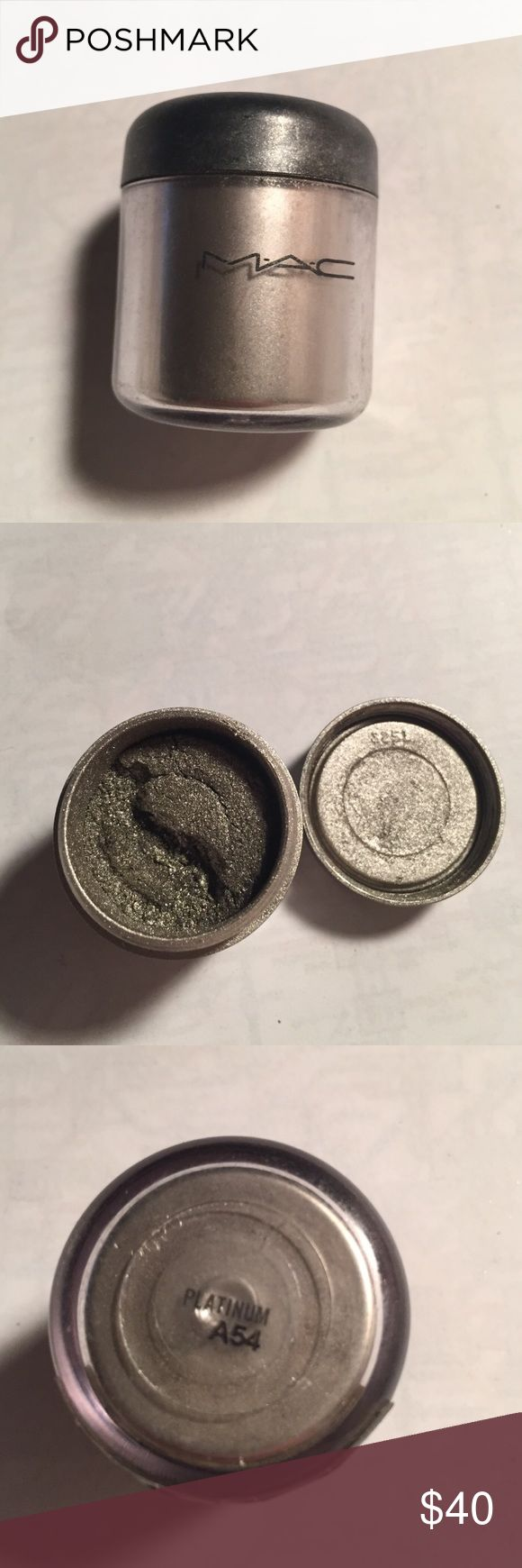 MAC Pro Pigment in Platinum Full sized Mac Pro Pigment in Platinum. 1/4tsp has been removed. MAC Cosmetics Makeup Eyeshadow