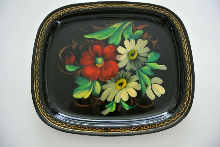 "Vintage ""Toleware"" Tin TrayHand-Painted-Flowers-Pennsylvania Dutch by LongTallSallys on Etsy"