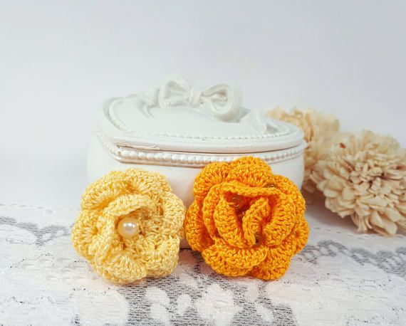 2 yellow applique roses crochet roses yellow crochet supplies by Rocreanique on Etsy