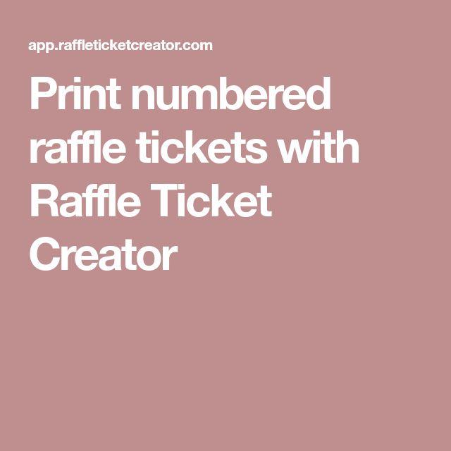 Print numbered raffle tickets with Raffle Ticket Creator