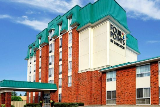 Four Points by Sheraton Waterloo - Kitchener Hotel & Suites - across the street from Consetoga Mall in north end of Waterloo.  Close to Heidelberg and to Kitchener