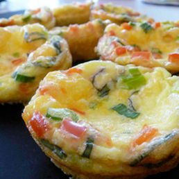 Basil & Veggie Mini Quiches  5 eggs  3 egg whites  1 c milk  1/4 c finely chopped scallion  6 basil leaves  1/4 c grated cheddar  cooking spray  325 F (3/4 full) for 25 min