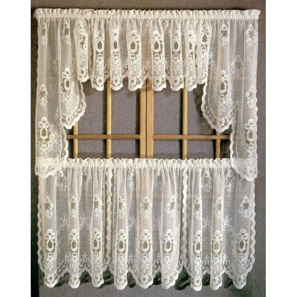 Sterling Lace Kitchen Curtains With Tier, Swags, U0026 Valances   Curtain .