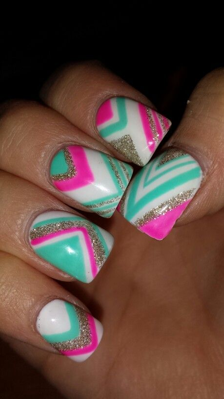 Mint turquoise and hot pink triangle chevron tribal glitter sparkly acrylic gel nails