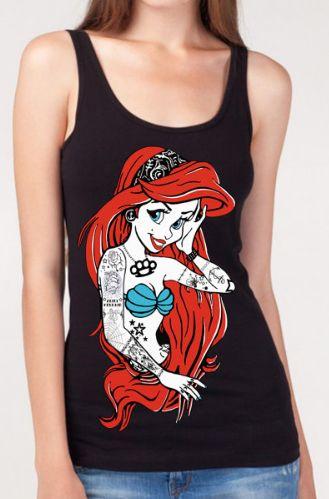 Gifts for Teens:  Rebel Tattooed Disney Princess Ariel of The Little Mermaid Tank by JMF Printer @ Etsy