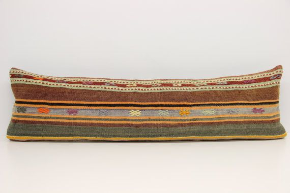 Oriental Lumbar Kilim pillow cover 14x47 inches by stripepattern