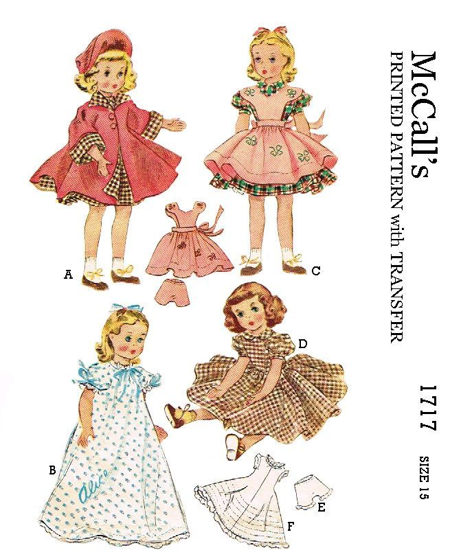 McCalls 1717, for 15 inch dolls such as maggie and alice, reproduced pattern.