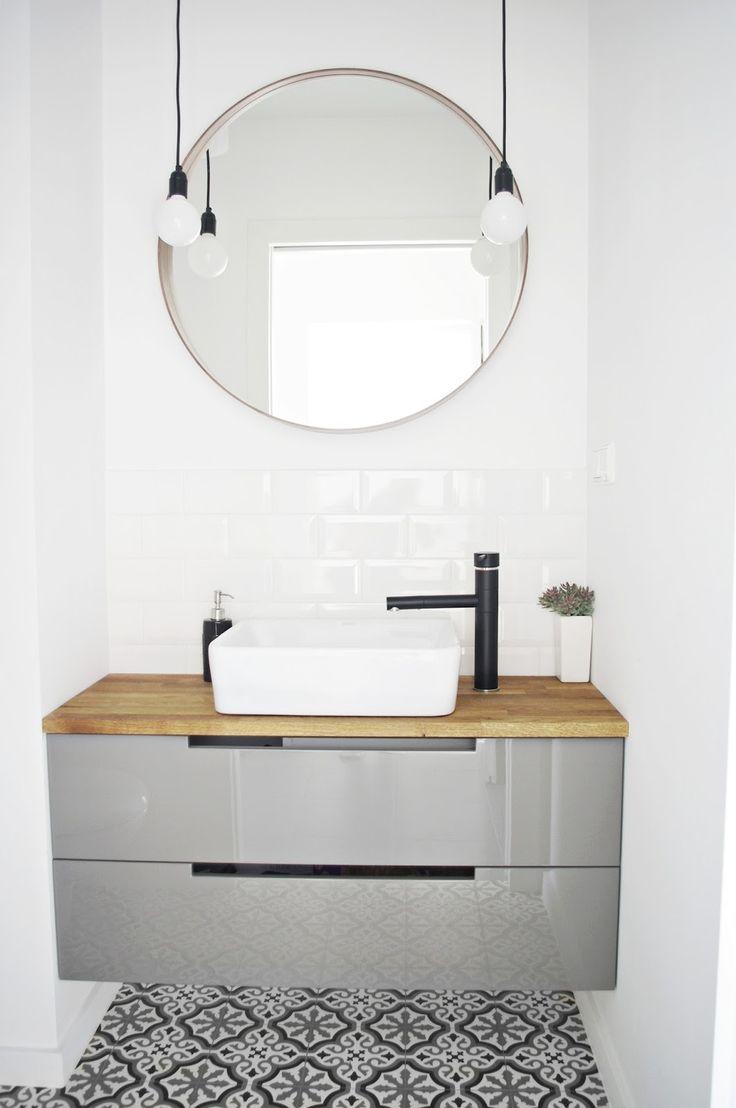 MINIMALISM, moroccan tiles, morrocan style, bathroom, white, subway tiles, wood, black, grey, mandala, AnyTHING, bulb, lights, lamps, round mirror, IKEA