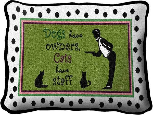 Cats Have Staff | Decorative Throw Pillow | 13 x 9 - Cat Gifts for People
