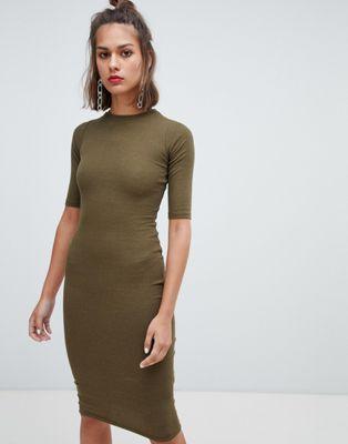 2f5860ef8611 Pull&Bear long sleeve bodycon dress in khaki   Women's Fashion ...