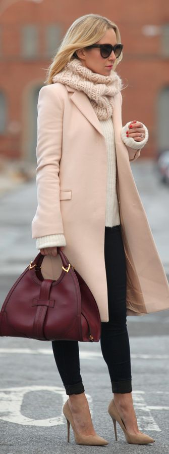 Light Pink Wool Coat by Brooklyn Blonde