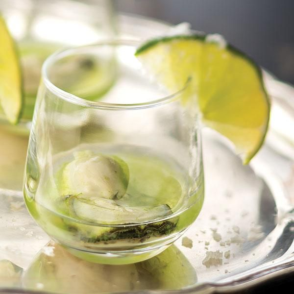 Oyster Shooter with Tequila Lime and Cucumber Water