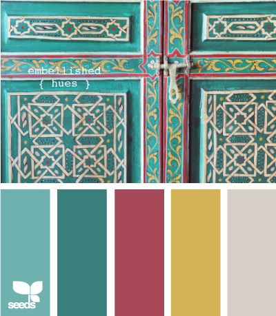 yellow ~ bedroom  gray ~ bathroom  light teal ~ kitchen chairs  Dark teal ~ living room pillow/acces  pinkish plum ~ bathroom accent