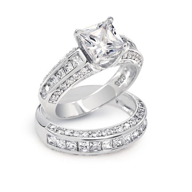 3 Sided CZ Princess Cut Wedding Engagement Ring Set 925 Silver