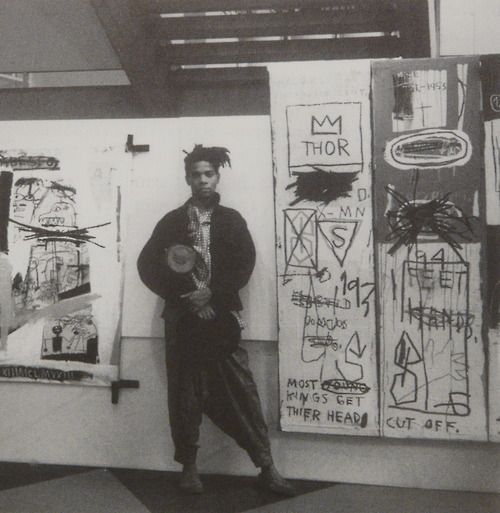 Basquiat at his exhibition in Abidjan, Ivory Coast, 1986.