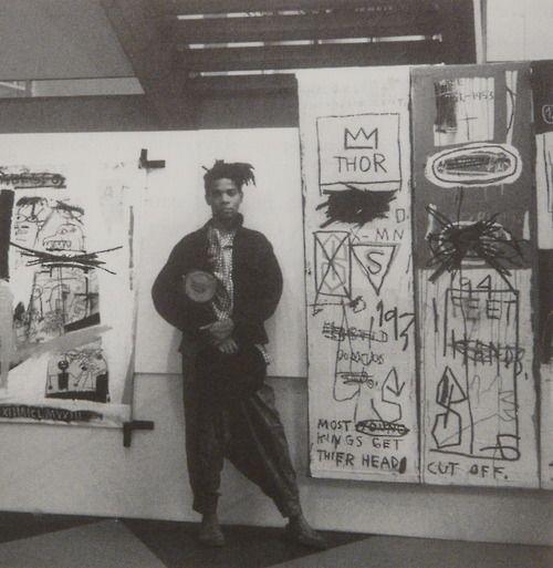 Basquiat at his exhibition in Abidjan, Ivory Coast, 1986.