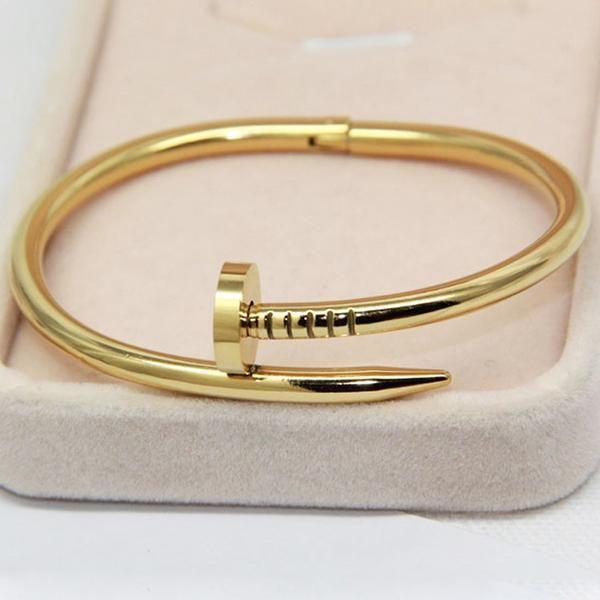 Screws Nail Cuff Bangle Bracelets Rose Gold Silver Women Unisex Gift Jewellery