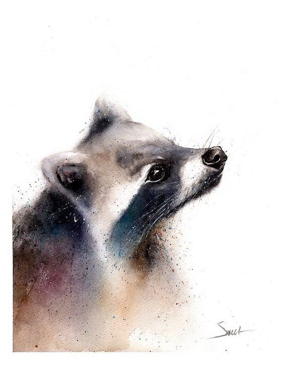 RACCOON PAINTING  raccoon watercolor original by SignedSweet on etsy
