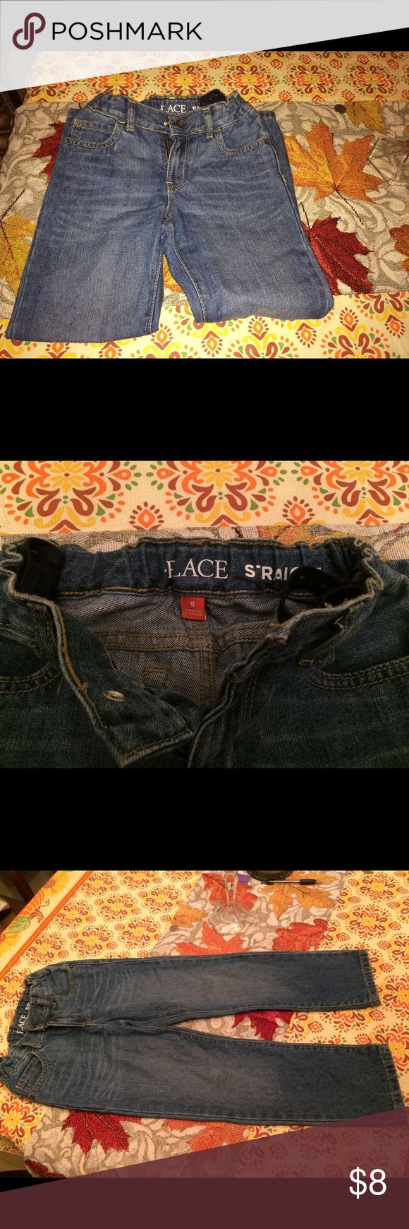 Children's Place Boys Size 6 Adjustable Jeans 👖 Gently used Children's Place Boys Straight Leg Size 6 Blue Jeans. No rips, stains, or tears. The Jeans could use a good ironing. My sons clothes have never been placed in a dryer. So they all keep the original colors and sizes.  From a smoke-free home. Thank you for looking 🦋 The Children's Place Bottoms Jeans