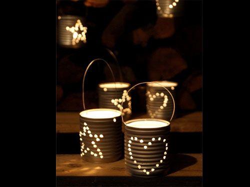 DIY: Upcycled tin can lanterns - Hazlo tu mismo: Farolillos de navidad hechos con latas recicladas