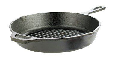 "Lodge Cast Iron Grill Pan Cast Iron Pre-Seasoned 10-1/4"" Dia."