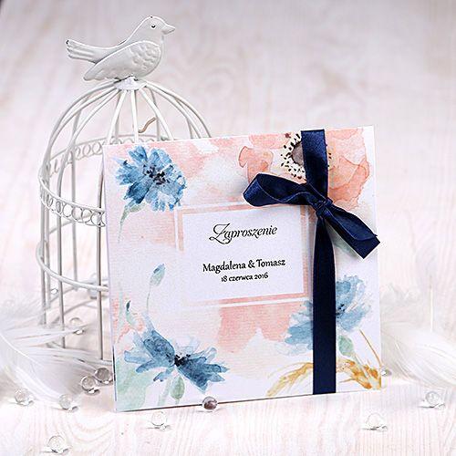 Zaproszenie ślubne malowane akwarelą- Chabry i maki