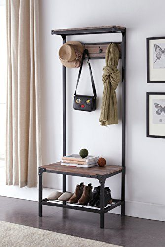 Ehomeproducts Reclaimed Oak Look Entryway Shoe Bench With Coat Rack Hall Tree Storage Organizer 8 Hooks In Black Metal Finish V Roce 2018