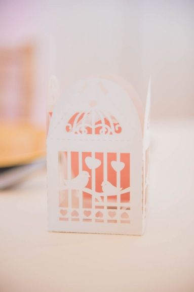 Monte Vista Venue white birdcage gift box for sweets at a pink and gold wedding