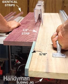 The sliding jig works like a long push stick. for cutting narrow strips...