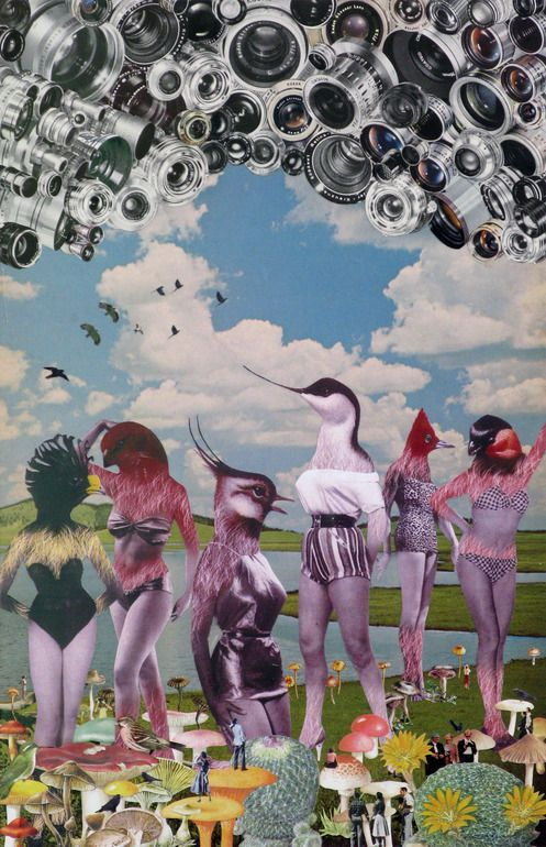 birdwatching - maria rivans Clara's note: surrealist collage, using a variety of different elements (birds and humans), blue sky background-it all starts with the background and builds up from there